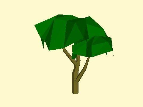 Lowpoly Yksinkertainen puu