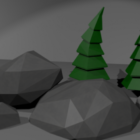 Lowpoly Scène d'arbre de roche