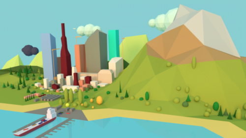 Lowpoly Small Town Scene