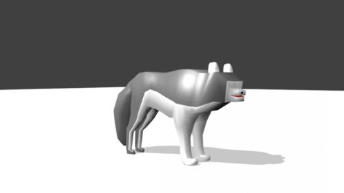 Sarjakuva susi Lowpoly