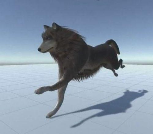 Wild Wolf Running Rigged