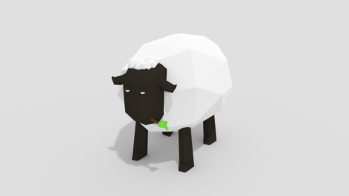 Cartoon Lowpoly Sheep Animal