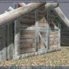 Mittelalterliche Holzhütte