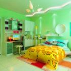 Green Wall Children's Bedroom Interior