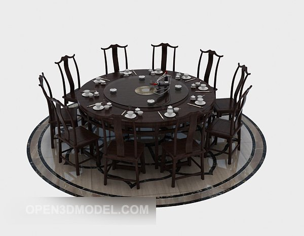 10 People Round Dining Table Free 3d Model Max Open3dmodel 520037