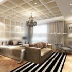 Modernes Schlafzimmer mit modernem Teppich-Interieur