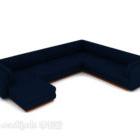 Divano multi posti in tessuto blu scuro
