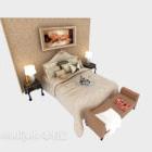 سرير مزدوج بسيط مع حائط ديكور منزلي