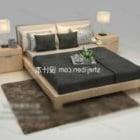 سرير مزدوج مع مصباح منضدة