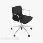 Proste krzesło biurowe z czarnej skóry