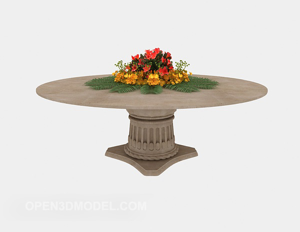 Stone Coffee Table With Flower Vase