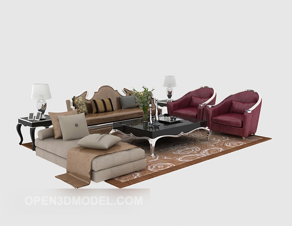 European Classic Sofa Coffee Table Set
