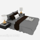 سرير مزدوج مع منضدة مصباح