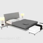 سرير خشبي حديث مع منضدة مصباح