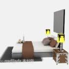 سرير أوروبي مزدوج مع مصباح منضدة