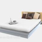 سرير مزدوج حديث قماش أبيض