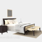 سرير خشبي حديث مع لوحة منضدة