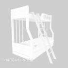 سرير خشبي لأعلى ولأسفل مطلي باللون الأبيض