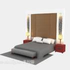 Katil Double Dengan Dinding Belakang Dan Lampu
