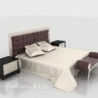 سرير مزدوج على الطراز الحديث مع منضدة