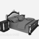سرير خشب أوروبي مع منضدة كلاسيكية