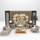 Sofa Gabungan Moden Dengan Hiasan Dinding Belakang