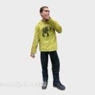 Carattere della camicia gialla degli uomini