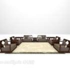 Kinesisk Woode-sofa med stort tæppe