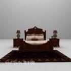 سرير أوروبي مزدوج مع سجادة منضدة