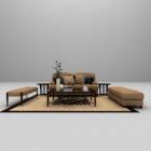 أريكة تركيبة تنجيد الخشب البني