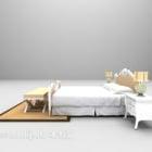 سرير أوروبي مع سجادة منضدة