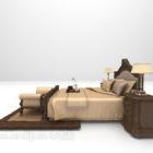 سرير على الطراز الأوروبي مع منضدة خشبية