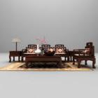 Divano cinese in legno di grandi dimensioni
