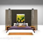 Katil Dengan Dinding Belakang Dan Tempat Tidur