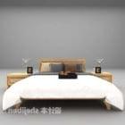 سرير خشب مزدوج مع منضدة