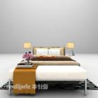 Doppelbett mit Stoff und Lampe