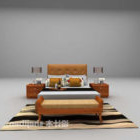 Simple Double Bed With Daybed And Carpet