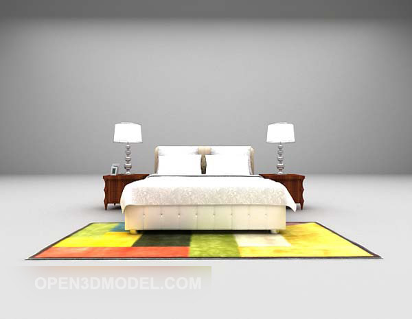 European Modern Double Bed With Color Carpet Free 3d Model Max Open3dmodel 538289
