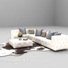 Combinazione divano bianco con moquette in pelliccia