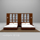 Twin Double Bed With Backwall