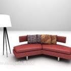 Czerwona skórzana kanapa w kształcie byka