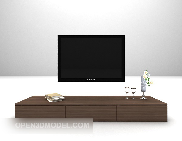Wood Tv Cabinet With Television