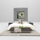 Perabot Tempat Tidur Putih Dengan Hiasan Dinding Belakang