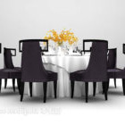 Tavolo da pranzo europeo in legno nero di grandi dimensioni