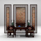 Table And Chair With Backwall Screen