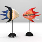 Colored Fish Shaped Sculpture On Stand