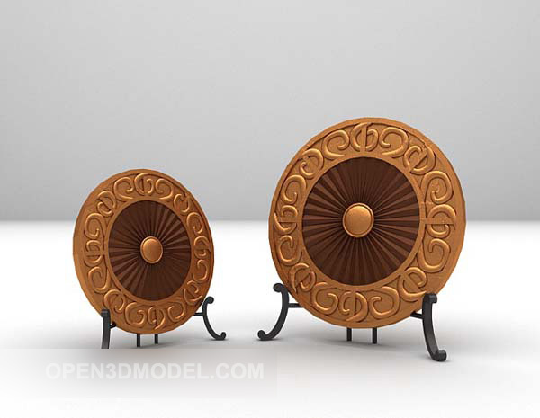 Chinese Ring Wooden Decor On Stand
