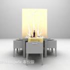 Meja Kayu Dengan Hiasan Kerusi Dan Dinding Belakang
