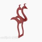 Svanstatyett Rött djur dekoration