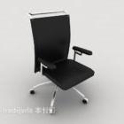 Chaise de bureau en cuir noir avec bras